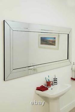 Grand Miroir Moderne De Mur De Verre Vénitien De Pleine Longueur 5ft9 X 2ft9 174cm X 85cm