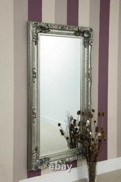 Grand Miroir Mural De Style Antique D'argent Pleine Longueur 5ft9 X 3ft 175cm X 90cm