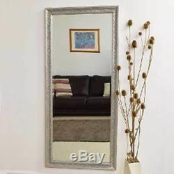 Grand Miroir Mural Vintage Design Cadrage En Pied D'argent 5ft3 X 2ft5 160cm X 73cm