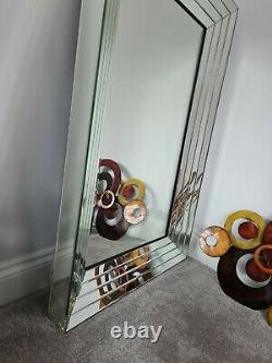 Grand Moderne Argent Cadrage Biseautées Étage Miroir Mural 121cm X 81cm XL