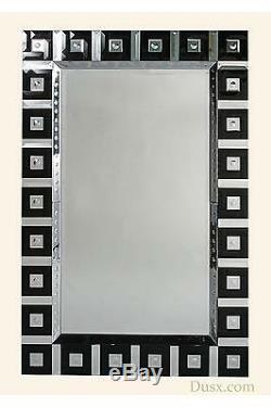 Grand Noir Contemporain Biseautés Cadre Miroir Mural 158x104cm
