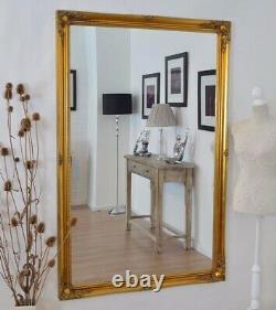 Grand Or Antique Orné Pleine Longueur Leaner Long Miroir De Mur 167cm X 106cm