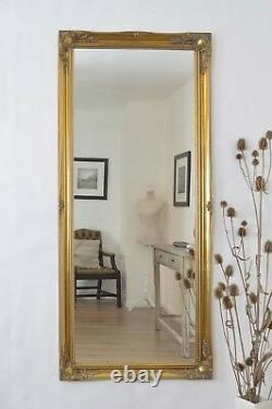 Grand Or Ornement Antique Style Miroir Mural Pleine Longueur 167x76cm