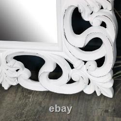 Grand Ornement Blanc Mur Sol Cru Pleine Longueur Miroir Shabby Chic En Détresse