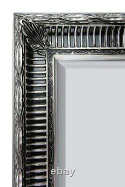 Grand Silver Antique Full Length Wood Wall Mirror 6ft7 X 4ft7 201 X 140cm