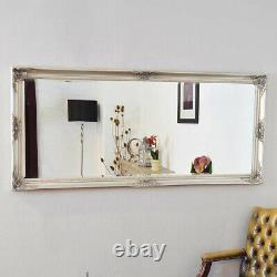 Grand Silver Full Length Vintage Chic Wall Mirror 5ft3 X 2ft5 160cm X 74cm