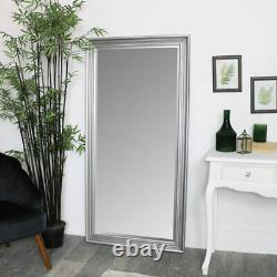 Grand Silver Full Longueur Miroir Chambre Vintage Métallique Décoration Maison Grand Glamour