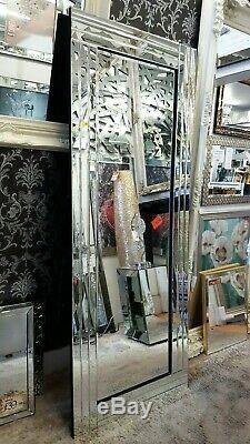 Grand Verre Argent Biseautées Miroir Mural Leaner Art Déco Cadrage 180x70cm