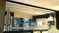 Grand Verre Cristal Argent Biseautées Miroir Mural Diamante Cadrage En Pied 180x70cm