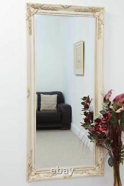 Grand Vieux Mur D'ivoire Longue Longueur Miroir 5ft7 X 2ft7 170cmx79cm