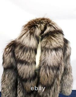 Grand XL 46 Chest Silver Fox Black Gray Brown Full Length Long Fox Fur Coat