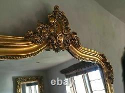 Grande Antique Or Gilt Ornée Français Robe Pleine Longueur Arch Leaner Miroir 7ft