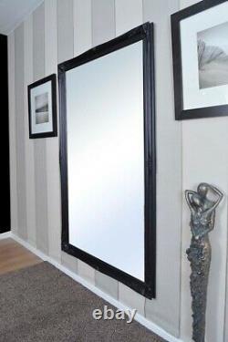 Grande Longueur Complète Long Miroir Mural Noir Antique 5ft6 X 3ft6 167x106cm