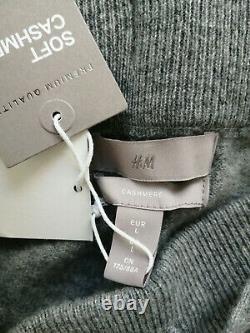H & M Premium Set 100% Cachemire En Maille Fine Joggers Pantalon Et Pull Gris L Bnwt
