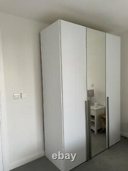 Habitez De Grandes Portes En Verre Blanc Garde-robe, Miroir Complet, 3 Tiroirs + Lumières Intérieures