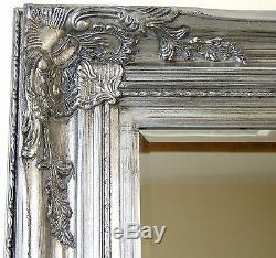 Harrow Extra Large Argent Rectangle Cadrage En Pied Miroir Mural 67x33 (172 X 84cm)