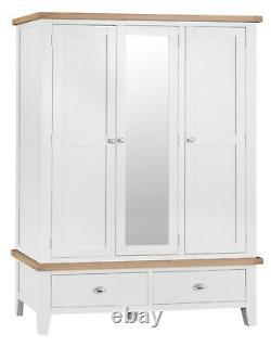 Hartwell Peint En Blanc Grande Armoire 3 Portes / Triple Robe Mirrored Avec Tiroirs
