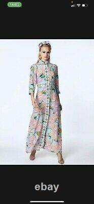 Hayley Menzies Bleu Floral Chaîne D'impression Maxi Taille De Robe Grand Stupéfiant