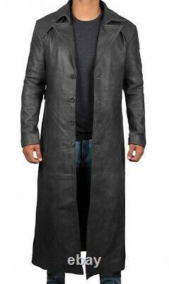 Homme Long Longueur Pleine Noir Bouton Avant Trench Sur Manteau Duster Veste