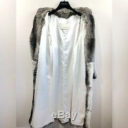 I. Magnin 100% Authentique Chinchilla Piste Longue Fourrure Longueur Plein Manteau Large / XL