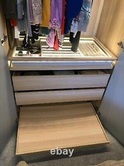 Ikea Pax Grande Armoire En Forme D'angle Chêne Teinté Blanc Avec 6 Portes Miroir