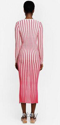 Jacquemus Knit Maxi Button Up Robe Rose Rayé La Robe Jaques 40 Épuisé
