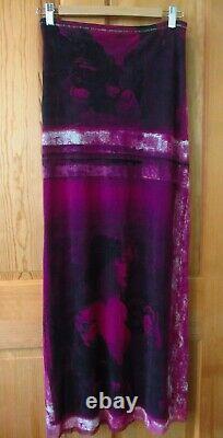 Jean Paul Gaultier Femme Print Mesh Long Maxi Skirt Italie Purple Black Size L