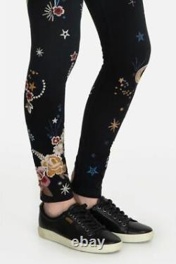 Johnny Était Cyllene Black Galaxy Stars Leggings Cotton Fleurs Broderie L Nouveau
