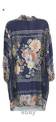 Johnny Était Taille 3x Blati Imprimé Pleine Longueur Kimono Bleu Floral
