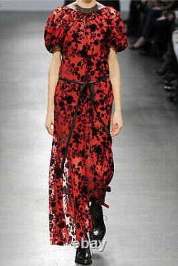 Junya Watanabe Comme Des Garçons Sheer Red Blooms Robe De Velours Noir