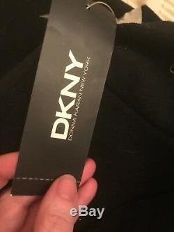Karan Cachemire Donna Noir Signature Robe Robe Long! 14 Rare Dkny Tn-o Grand
