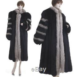 Lknw! Grand! Magnifique Black Fox Withsilver En Fourrure De Renard Pleine Longueur Manteau