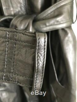 Loewe En Cuir Noir Longueur Pleine Trench L / XL Vintage Euc Mafia 80 Matrice
