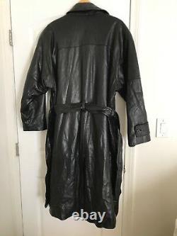 Loewe Noir Cuir Longueur Complete Trench Coat L/xl Vintage Mafia 80 Matrix