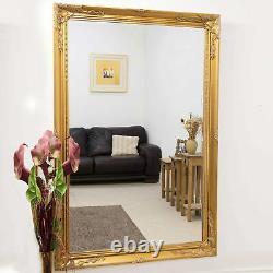Longueur Extra Large Long Mur Pleine D'or Leaner Bois Miroir 170cm X 109cm