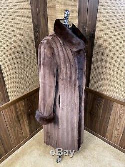 Longueur Totale Brown Cisaillés Et Aux Cheveux Longs Mink Réversible En Taffetas Manteau De Fourrure Grand