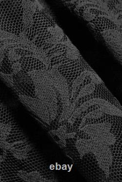 Maje Jared Dentelle Floral Brodé Perforated Maxi Skirt Black Sz 3 $470 / T.n.-o.