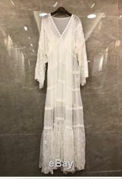 Mango Ivoire Très Brodé À Manches En Dentelle Crochet Vintage Maxi Dress S 8 10