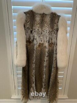Manteau De Fourrure De Lynx Et De Renard Pleine Longueur