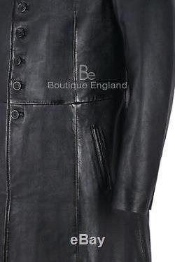 Manteau ' Homme Plein Length'matrix Reloaded Noir 100% Cuir Real 1425