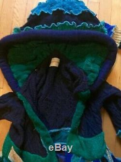 Manteau Pull Upcycled Bleu Sarcelle Or Longue Pleine Longueur Katwise Inspiré