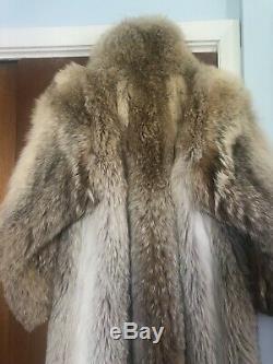 Manteau Vintage Coyote Fur Longueur Pleine Grande Taille