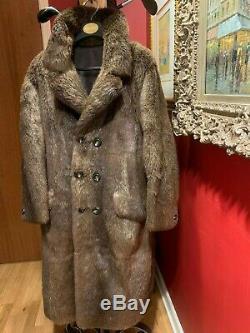 Mens Véritable Beaver Manteau Longueur Pleine Vintage Magnifique Moyen De Grande Taille 42