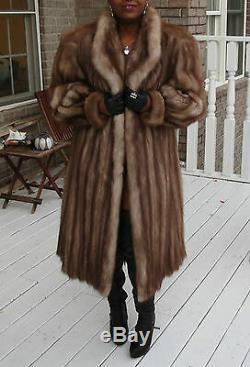 Mint Designer Pleine Longueur Manteau Fouine Sable Fur Poussette Sz L-xl 10-18