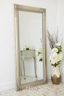 Miroir Mural Extra Grand Argent Antique Vintage Pleine Longueur 5ft10x2ft10 178x87cm