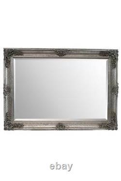 Miroir Mural Extra Grand Argent Bois Antique Pleine Longueur 3ft7 X 2ft7 110cm X 79cm