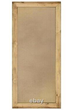 Miroir Mural Extra Grand Brun Bois Massif Encadré Pleine Longueur 172cm X 81cm