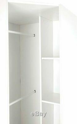 Moderne Blanc Mirrored Grand Angle Armoire Facile Assemblez 2 Hanging Rail 2 Étagère