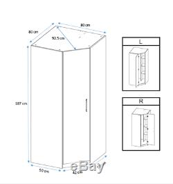 Moderne Chêne Mirrored Grand Angle Armoire Facile Assemblez 2 Hanging Rail 2 Étagère