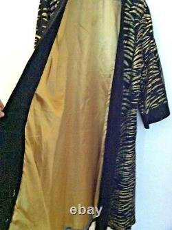 Molato Women Coat Cuir Full Length Mud Cloth Duster Black Gold Suede Size L